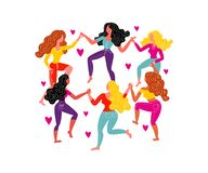 Women`s round dance and hearts. Women dance in circles, holding hands stock illustration