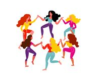 Women`s round dance. Six women hold hands. Vector illustration on March 8th vector illustration
