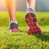 Women's running legs, pink-gray sports shoe detail.  Stock Image