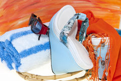 Women's sandals and beach accessories Stock Images