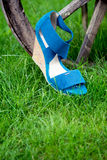 Women's sandals, Italian shoes. Women's sandals are on the wheel, Italian shoes Royalty Free Stock Photography