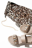 Women`s sandals and leggings Royalty Free Stock Photo