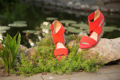 Women's sandals. Are unturned sale Stock Photos