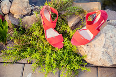 Women's sandals are unturned. Sale Stock Images
