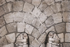 Women's sandals, walking, old city Royalty Free Stock Photo
