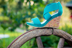 Women's sandals are on the wheel. Italian shoes Royalty Free Stock Photos
