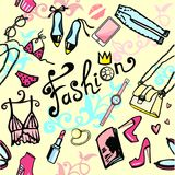 Women`s seamless bright background from accessories girls royalty free illustration