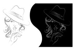 Womens secret. Sketch a portrait of a woman with long hair in a hat,  lines Royalty Free Stock Photo