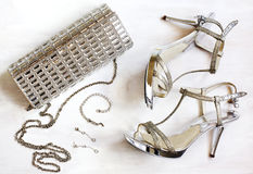 Women's set of fashion accessories in silver color Stock Images