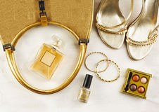 Women S Set Of Fashion Accessories In Golden Color Stock Photo