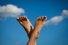 Women's sexy legs. Sexy Woman's Legs with fashion nails. Summer holidays Stock Image