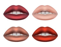 Women's lips Plump soft sponge for women of different colors with white teeth. Clipart on white background Stock Illustration