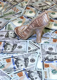 Women's shoe on a background of US dollars bills Stock Image