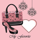 Women's shoe,handbag, label , chandeliers Royalty Free Stock Images