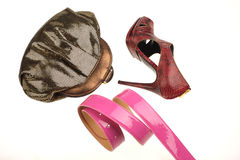 Women's shoe, purse and belt Stock Photo