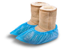 Women's shoe in shoe covers. Royalty Free Stock Photography