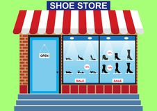 Women`s Shoe store, shop window royalty free illustration
