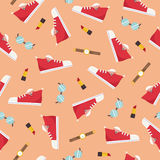 Women's shoes accessories seamless pattern - flat style vector illustration Royalty Free Stock Photo