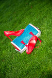 Women's shoes are on the bag and on the ground, women's summer shoes. A Royalty Free Stock Images