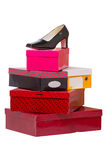 Women's shoes and boxes Stock Photos