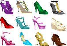 Women's shoes collection Stock Photos