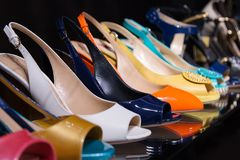 Womens shoes on the counter close-up royalty free stock photos