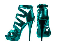 Women's shoes dark turquoise colors. collage Royalty Free Stock Images