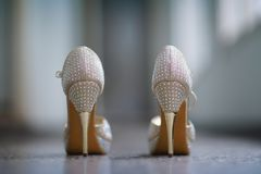 Women`s shoes with fine stud and with glitter stock photography