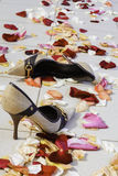 Women's shoes on the floor. Strewn with rose petals Stock Photography