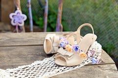 Women's shoes and headband Stock Photos