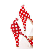 Women's Shoes High Heels. Red High Heels Ladies Shoes with polka dots Stock Images