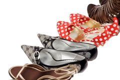 Women's Shoes High heels. Many different shoes for women. Elegant and sexy high heels Royalty Free Stock Photos