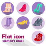 Women's shoes. Icon set of women's shoes made in flat design style Stock Images