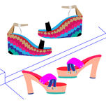 Women`s shoes on an imagined shelf. Two pairs of women`s shoes on imaginary shelves Royalty Free Stock Photos