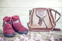 Women's shoes with leather bag on a wooden floor Stock Photos