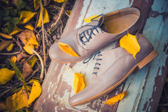 Women's shoes lie on a wooden board near the yellow leaves Stock Photography