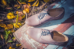 Women's shoes lie on a wooden board near the yellow leaves Royalty Free Stock Photography