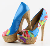 Shoes. Womens shoes multicolors with  high heels Royalty Free Stock Photos