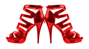 Women's shoes red colors. collage Royalty Free Stock Image