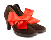 Women's shoes with red gift bow stock photo