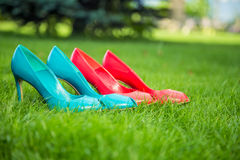 Women's shoes in a row standing position. On the grass Royalty Free Stock Photography