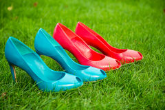 Women's shoes in a row standing position on the grass. A Royalty Free Stock Image