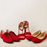 Women`s shoes sandals, ballet flats, oxfords red color. royalty free stock photography