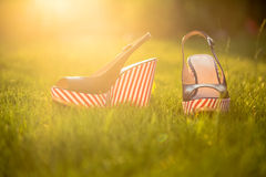 Women's shoes, sandals in nature, blue sandals. A Royalty Free Stock Photo