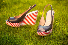 Women's shoes, sandals in nature, blue sandals. A Royalty Free Stock Images