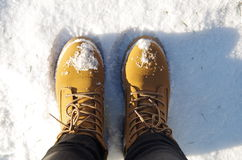 Women's shoes in the snow Stock Photography
