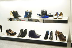 Women's shoes are sold in the store display Royalty Free Stock Images