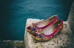 Women`s shoes on the stairs Royalty Free Stock Image