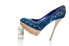 Women's shoes stand on the money Stock Photos