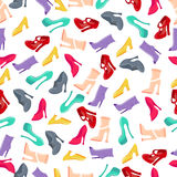Women's shoes. Vector seamless pattern of multicolored women's shoes made in flat design style Stock Image